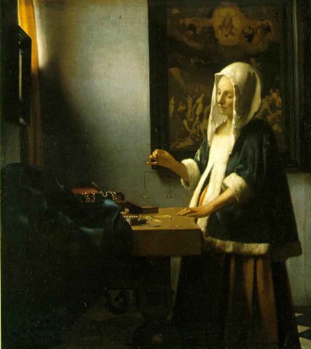 Vermeer: femme portant une balance
