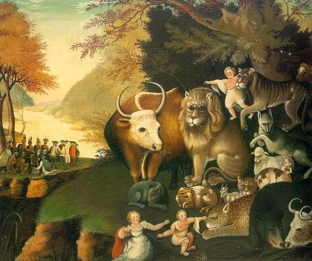 "Edward Hicks' ""Peaceable Kingdom"", National Gallery or Art, Wikipedia Common"